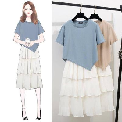 春夏韩版不规则短袖T恤上衣+百褶雪纺蛋糕裙休闲时尚套装两件套女