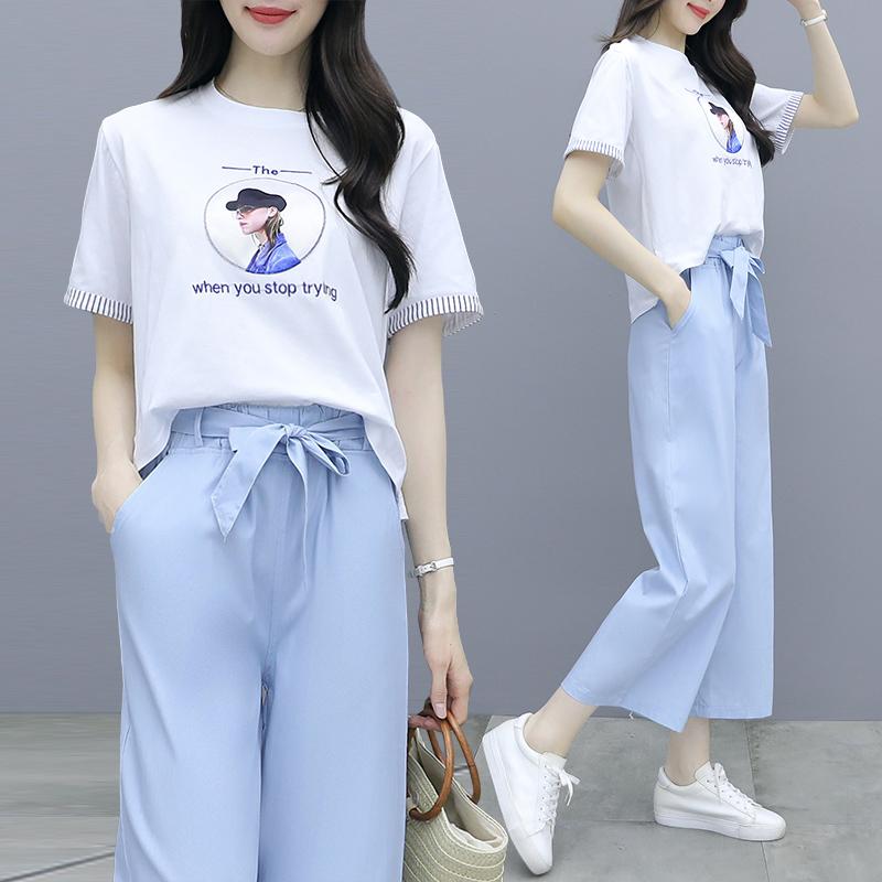 2021新款夏季阔腿裤套装女时尚小个子洋气小清新森女系两件套