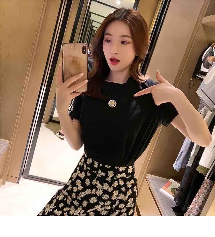 小雛菊半身長裙T恤兩件套女春季短袖上衣搭不規則A字短裙氣質套裝