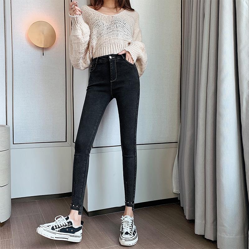 实拍现货黑色牛仔打底裤女外穿夏2020新款高腰百搭薄款小脚铅笔裤