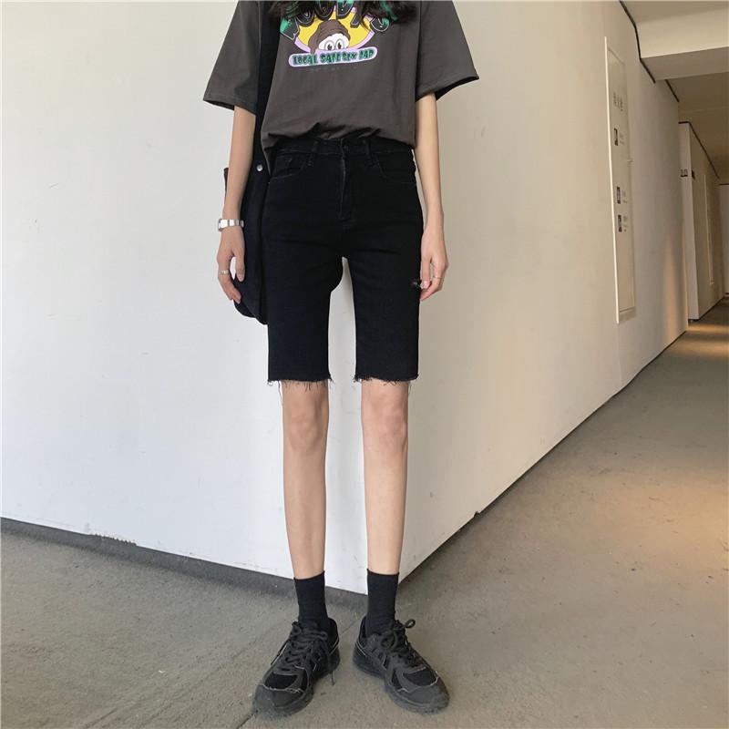 实拍实价 弹力修身割破显瘦五分裤牛仔裤铅笔裤