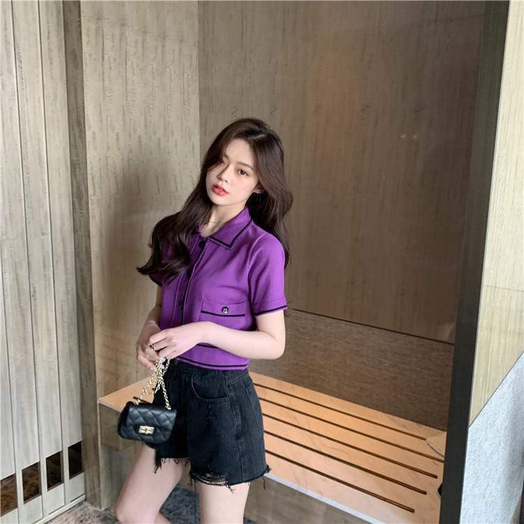 實拍實價 2020新款韓版顯瘦寬松冰絲針織衫女薄款短袖polo打底衫