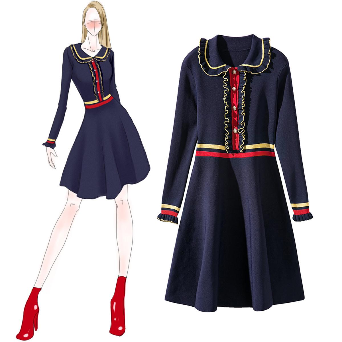高端2020春季新款名媛小香风娃娃领针织连衣裙收腰显瘦法式大摆裙
