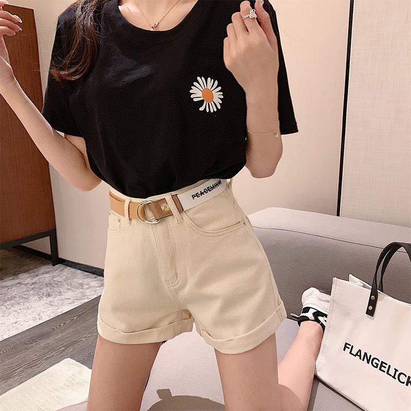 现货泫雅风夏季2020年新款宽松牛仔裤女直筒搭配皮带高腰短裤
