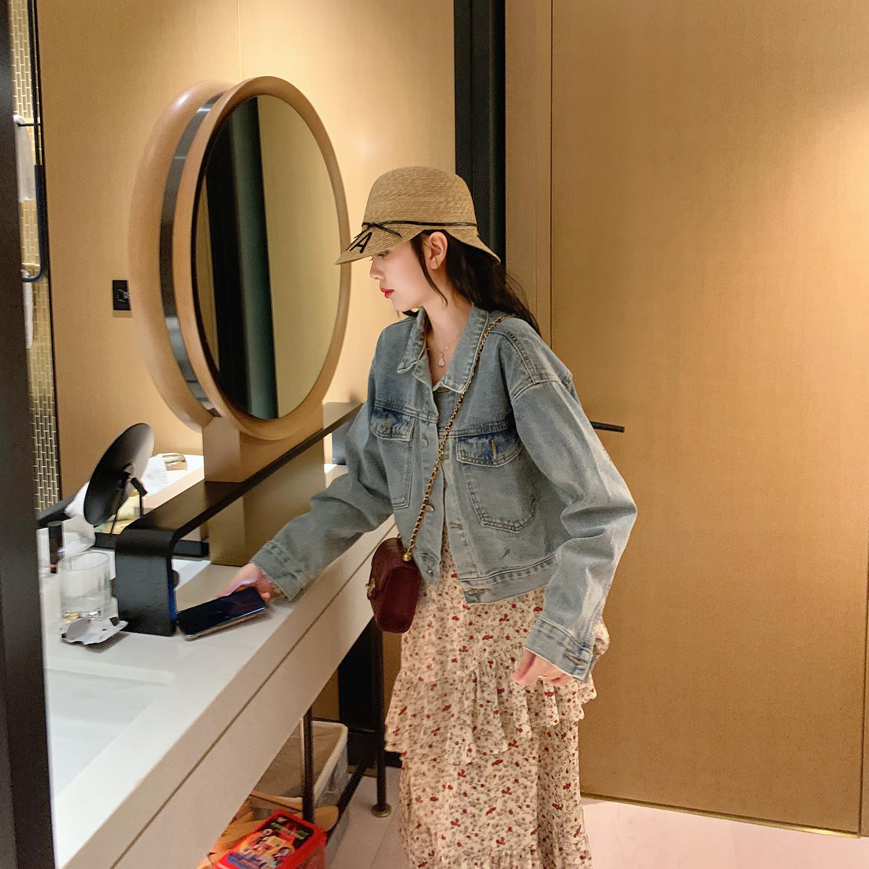 浅蓝色修身短外套女2020年春季新款网红复古港味百搭短款牛仔外套