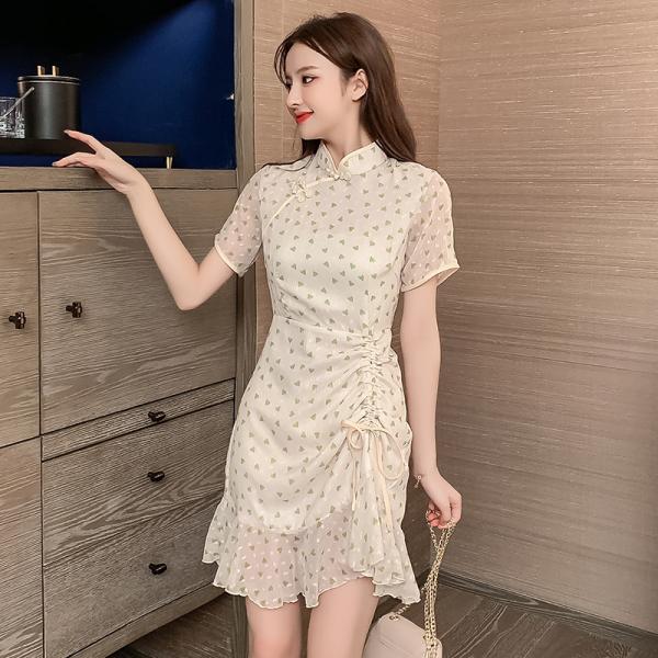 TS48882#改良版国潮旗袍年轻款女新式港风复古少女连衣裙中国风小个子