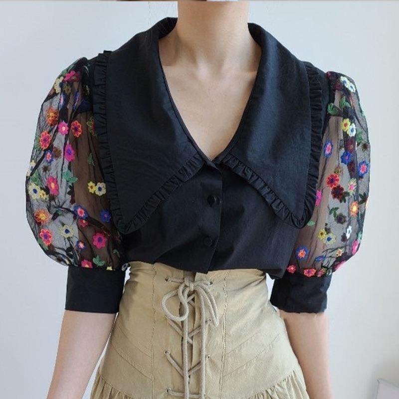韓國chic溫柔復古娃娃領單排扣重工拼接網紗繡花雛菊泡泡袖襯衫女