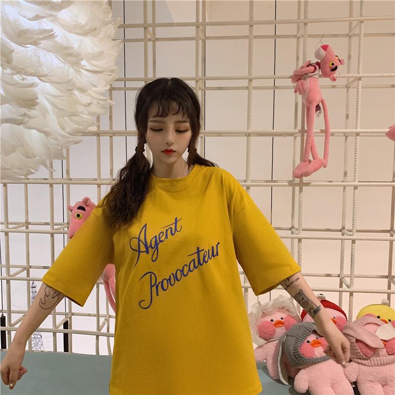 夏季2021宽松韩版学生bf原宿风百搭上衣服潮体恤