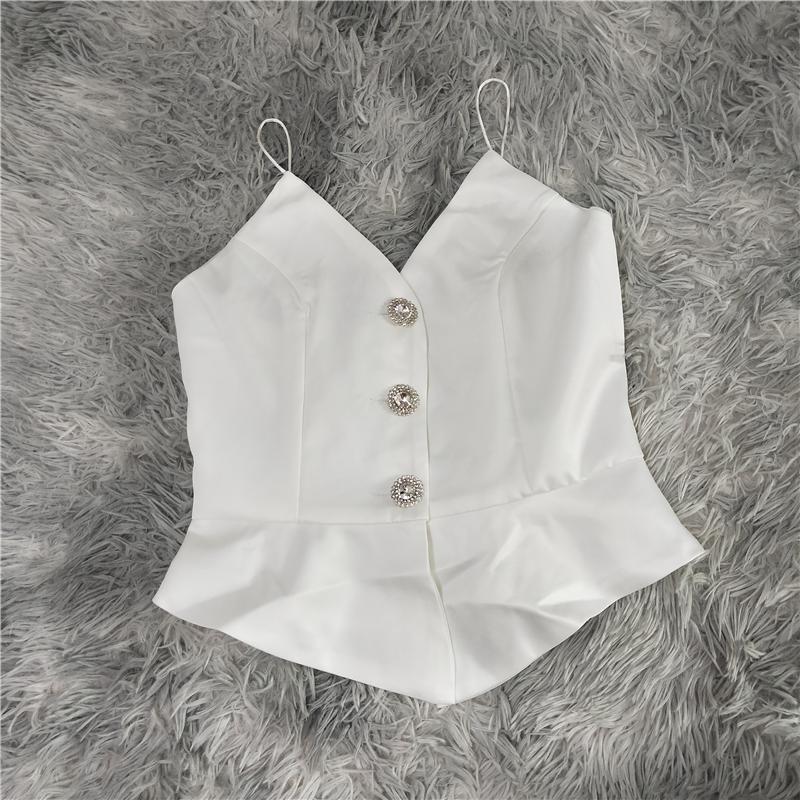 2020女裝新款鑲鉆紐扣小吊帶背心外穿綢面性感v領打底無袖女上衣