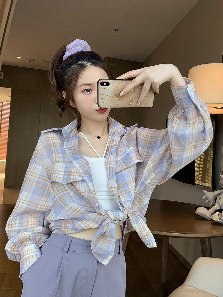 2020年春季新款韓版POLO領格子防曬襯衫女生小個子減齡洋氣襯衣潮
