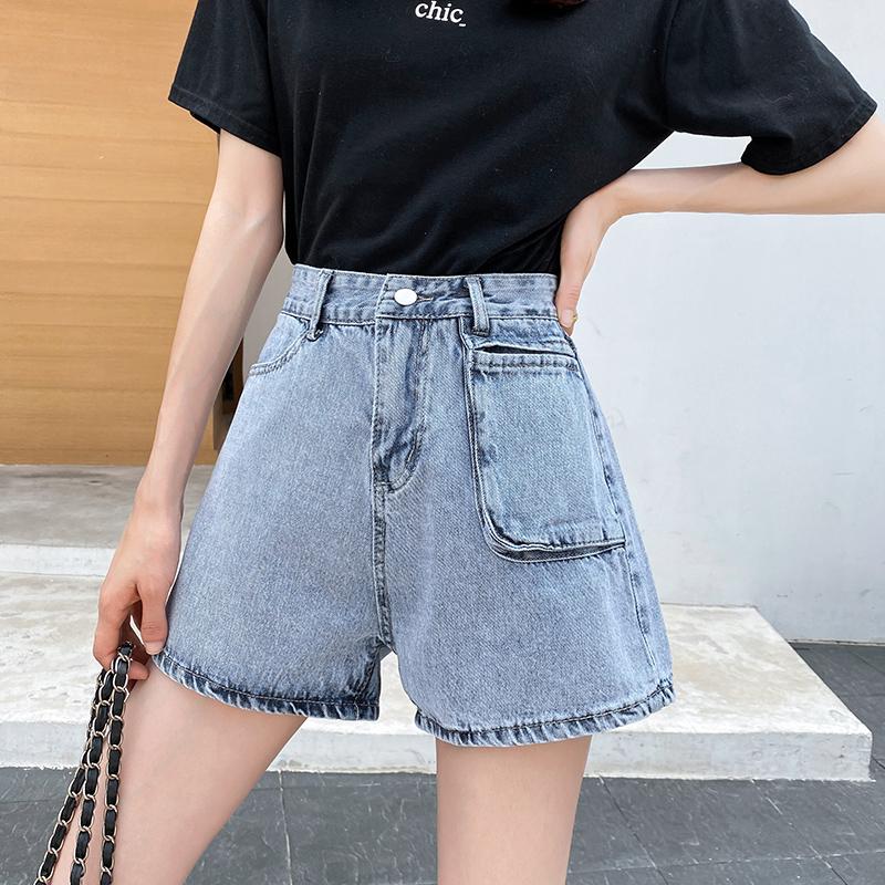 實拍 淺色牛仔短褲女2020夏新款高腰闊腿韓版寬松顯瘦a字超短熱褲