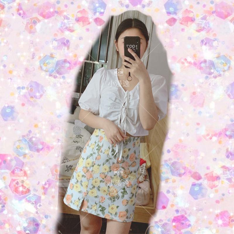 4.26~小鎮姍姍印象玫瑰印花A字半身裙百搭舒適可愛上衣套裝2020夏