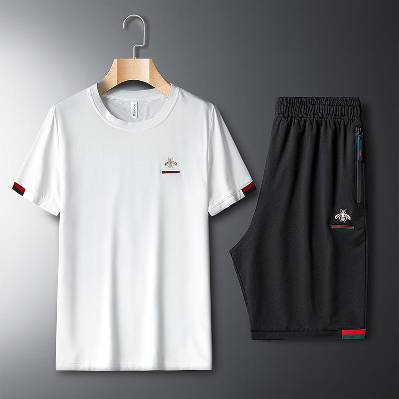 新款夏季潮流時尚刺繡男士套裝休閑韓版青年二件套短袖T短褲搭配