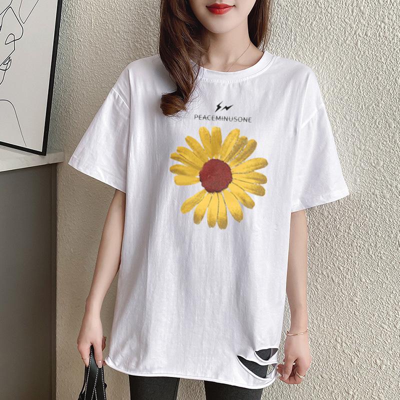 40支純棉奧代爾2020夏裝5104#實拍 小雛菊印花白色短袖T恤女
