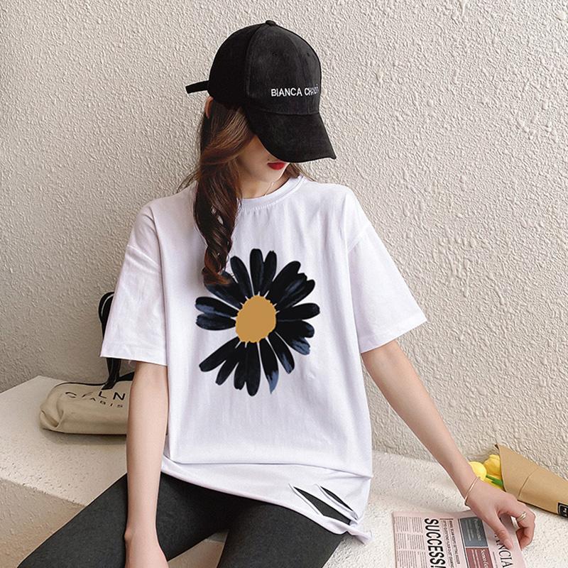 40支純棉奧代爾2020夏裝5101#實拍 小雛菊印花白色短袖T恤女