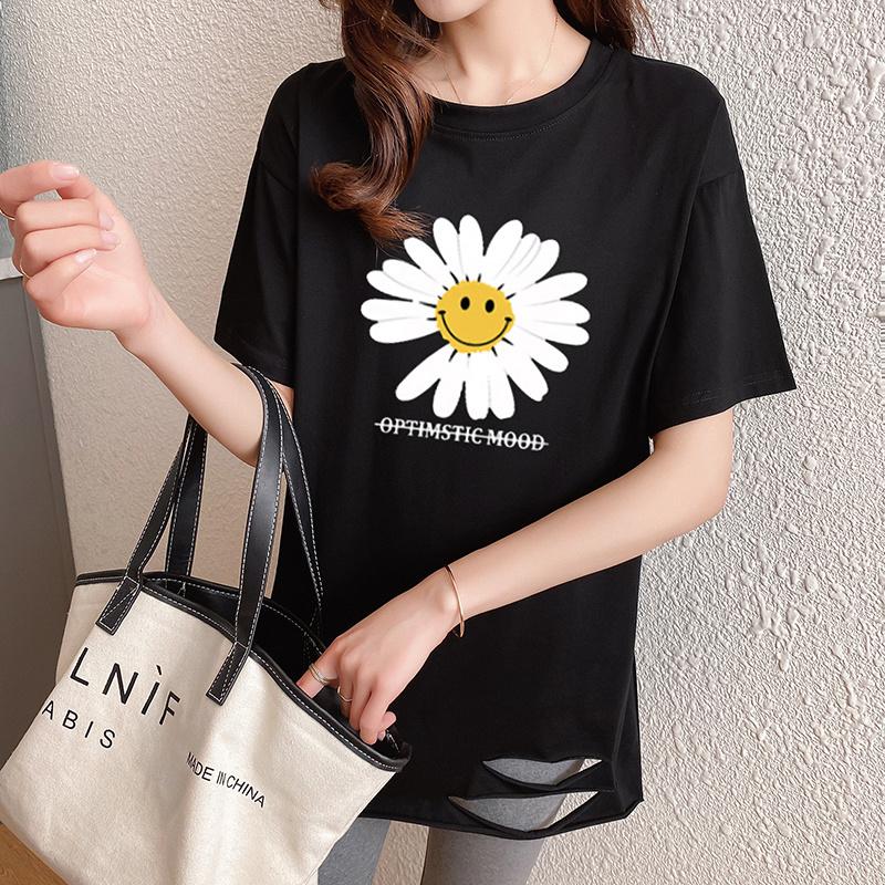 40支純棉奧代爾2020夏裝5106#實拍 小雛菊印花黑色短袖T恤女