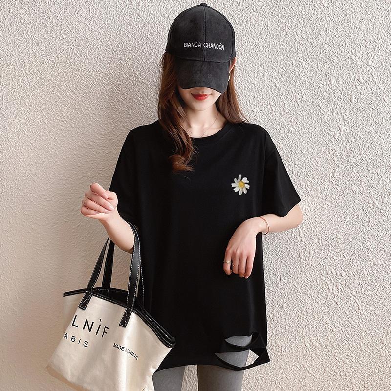40支純棉奧代爾2020夏裝5107#實拍 小雛菊印花黑色短袖T恤女