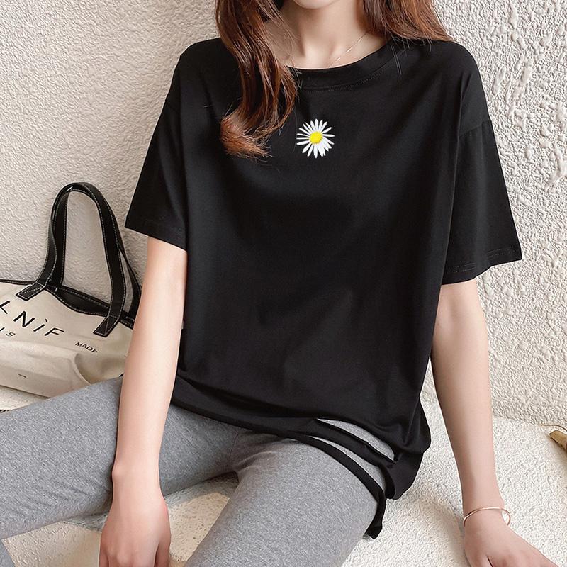 40支純棉奧代爾2020夏裝5108#實拍 小雛菊印花黑色短袖T恤女