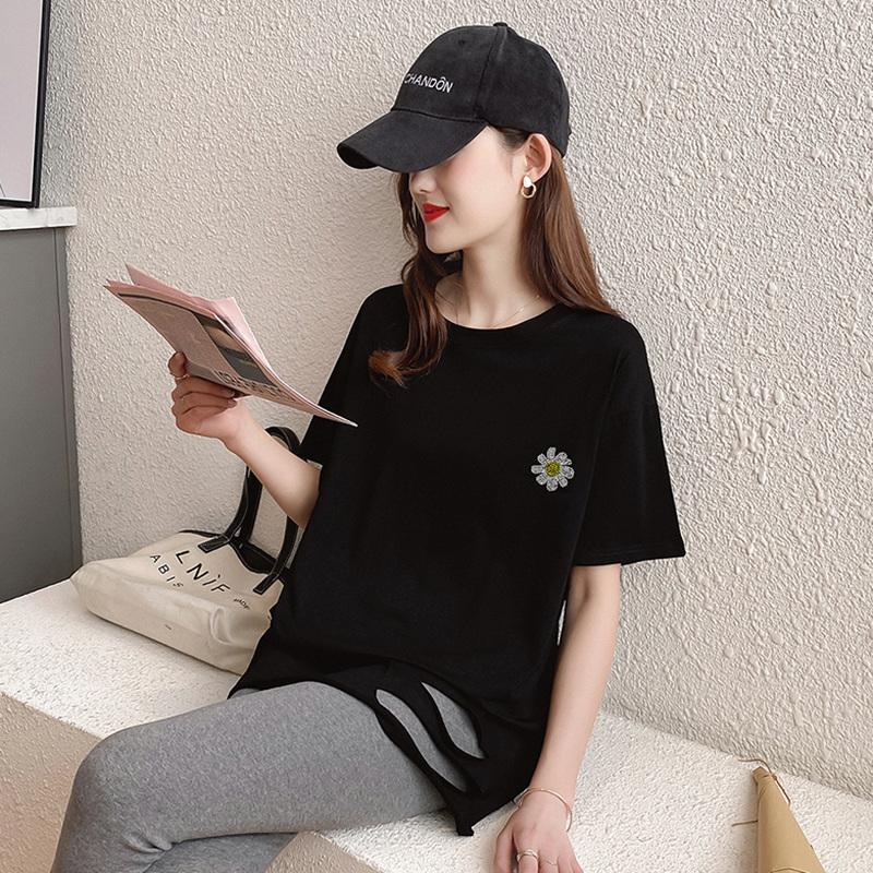 40支純棉奧代爾2020夏裝5111#實拍 小雛菊印花黑色短袖T恤女