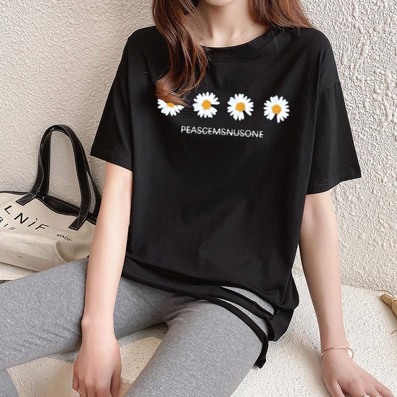 40支純棉奧代爾2020夏裝5112#實拍 小雛菊印花黑色短袖T恤女