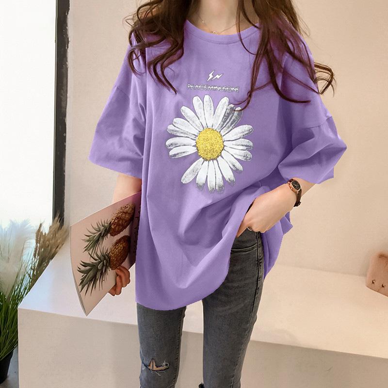 純棉大碼女裝2020夏裝官圖5671#小雛菊印花短袖寬松T恤紫色上衣女