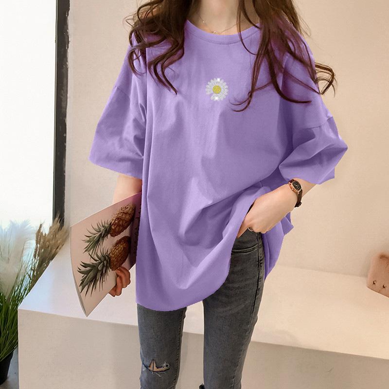 純棉大碼女裝2020夏裝官圖小雛菊印花短袖寬松T恤紫色上衣女