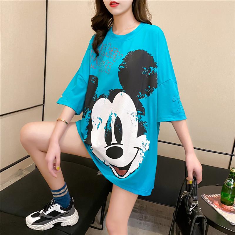 實拍好質量韓版棉質寬松短袖米奇印花中長t恤女網紅同款大碼女裝