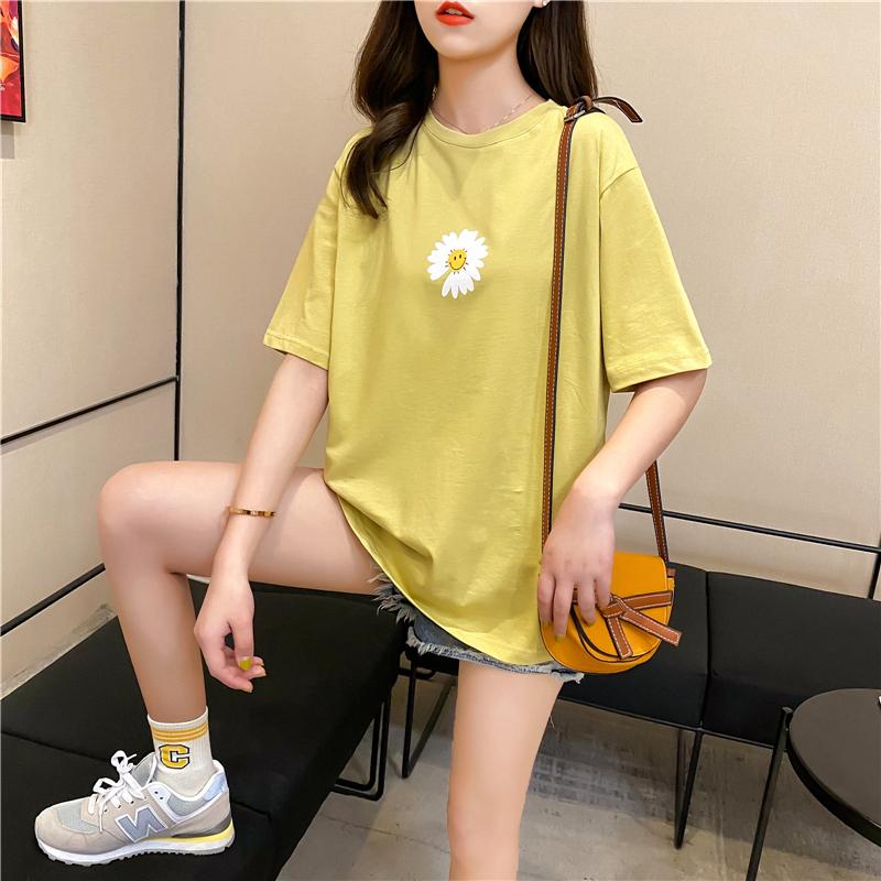 實拍好質量韓版棉質寬松短袖雛菊印花中長t恤女網紅同款
