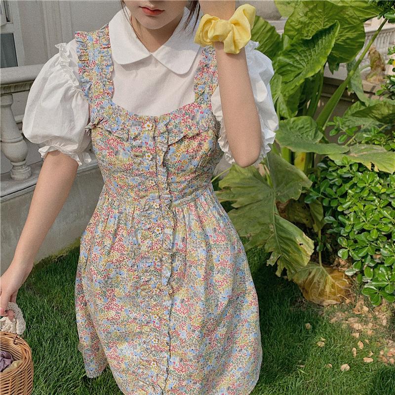 實拍實價 小可愛花朵紐扣重工碎花裙+少女領花邊泡泡袖氣質襯衫