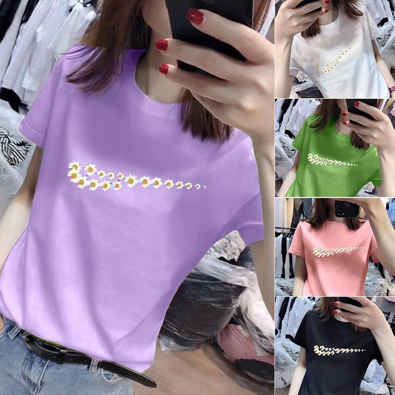40支純棉奧代爾2020夏裝官圖 小雛菊圖案短袖T恤紫色上衣女