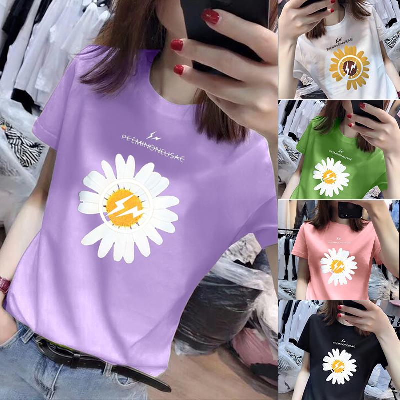 40支純棉奧代爾2020夏裝官圖 超火小雛菊短袖T恤紫色上衣女