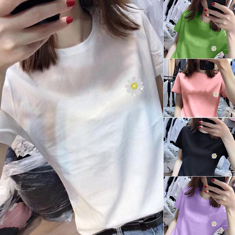 40支純棉奧代爾2020夏裝官圖 超火cec小雛菊圖案短袖T恤女