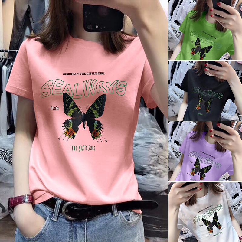 40支純棉奧代爾2020夏裝官圖 超火cec蝴蝶圖案上衣短袖T恤女