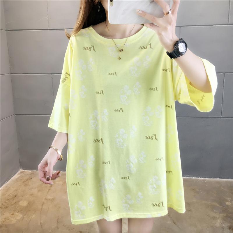 實拍夏款百分百純棉好質量韓版寬松短袖中長t恤女網紅同款