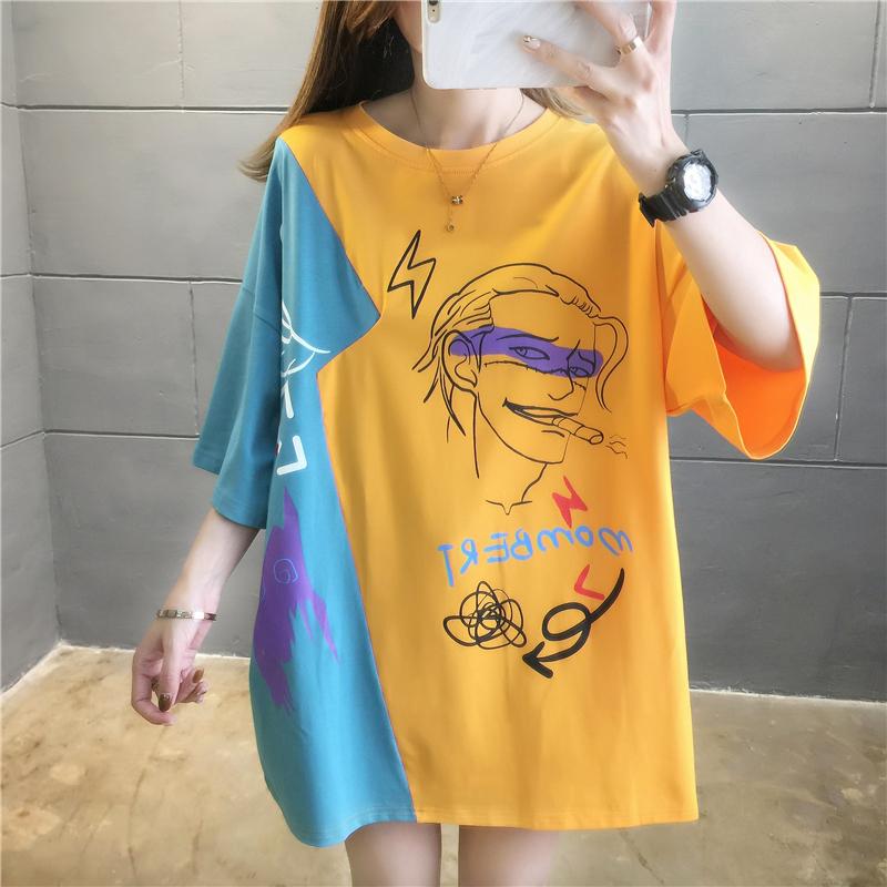 實拍好質量韓版棉質寬松拼色刺繡短袖t恤女網紅同款大碼女裝