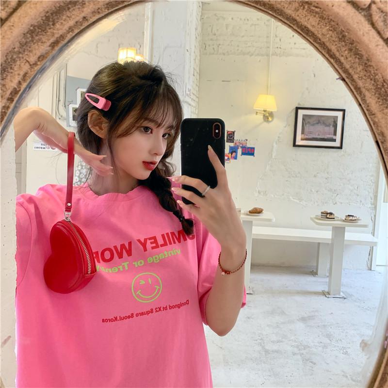 實拍好質量韓版棉質寬松印花短袖t恤女網紅同款大碼女裝