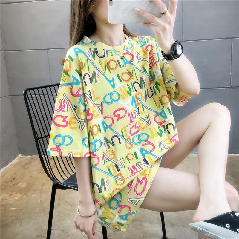 實拍好質量不下架韓版100%純棉寬松短袖中長t恤女網紅同款
