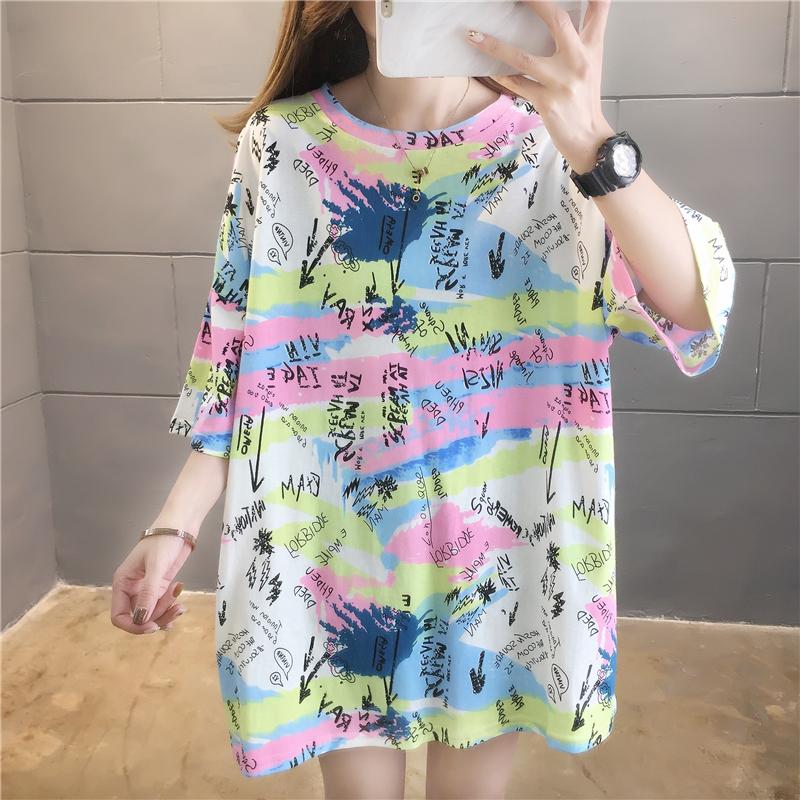 實拍棉質好質量大版t恤女夏韓版寬松中長款短袖大碼上衣