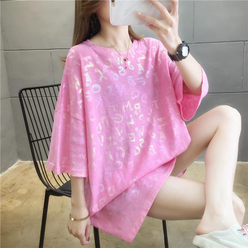 實拍好質量大版t恤女夏韓版寬松中長款短袖網紅亮閃閃大碼上衣