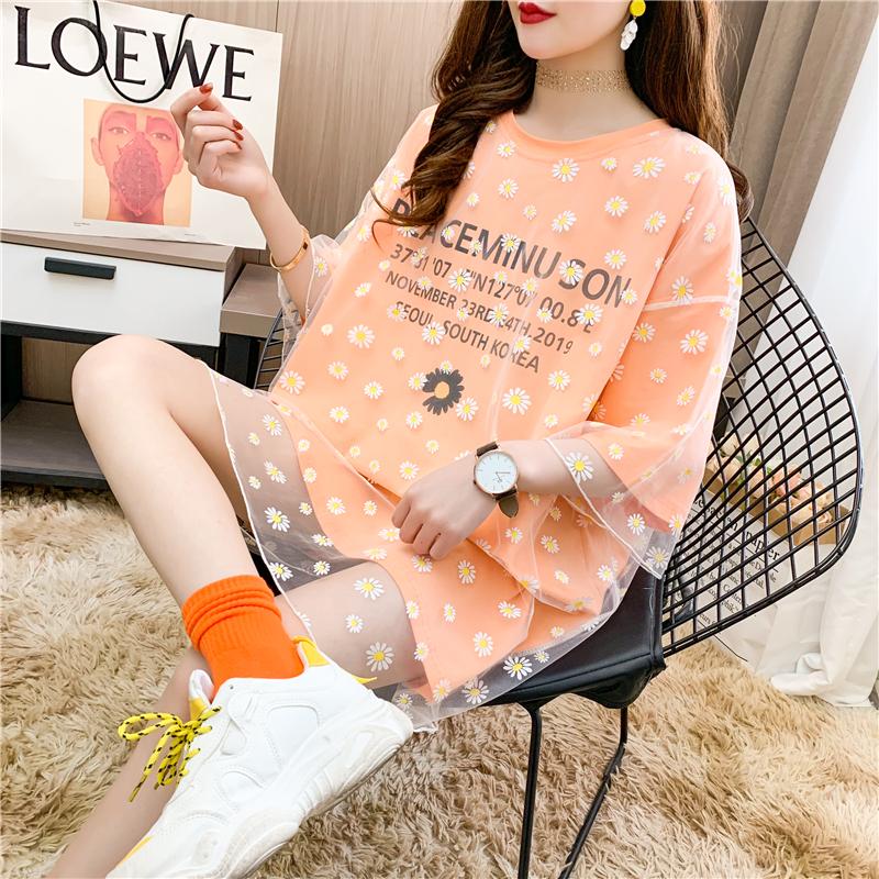 實拍大件網紗短袖T恤女印花寬松中長款韓版網紅上衣