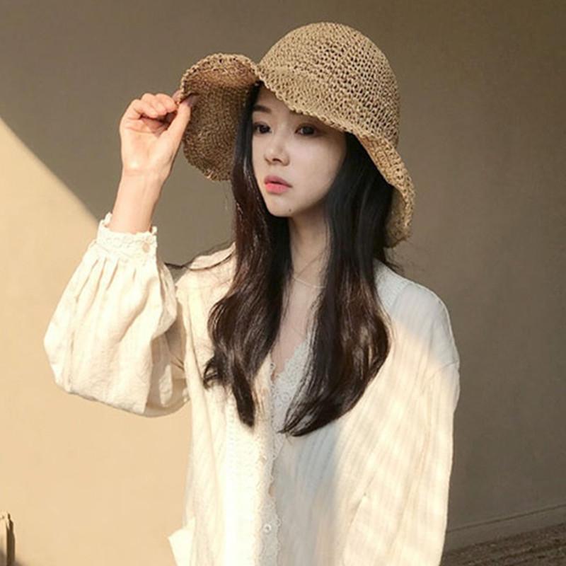 網紅草帽女夏百搭仙氣帽子女夏季出游大檐沙灘帽