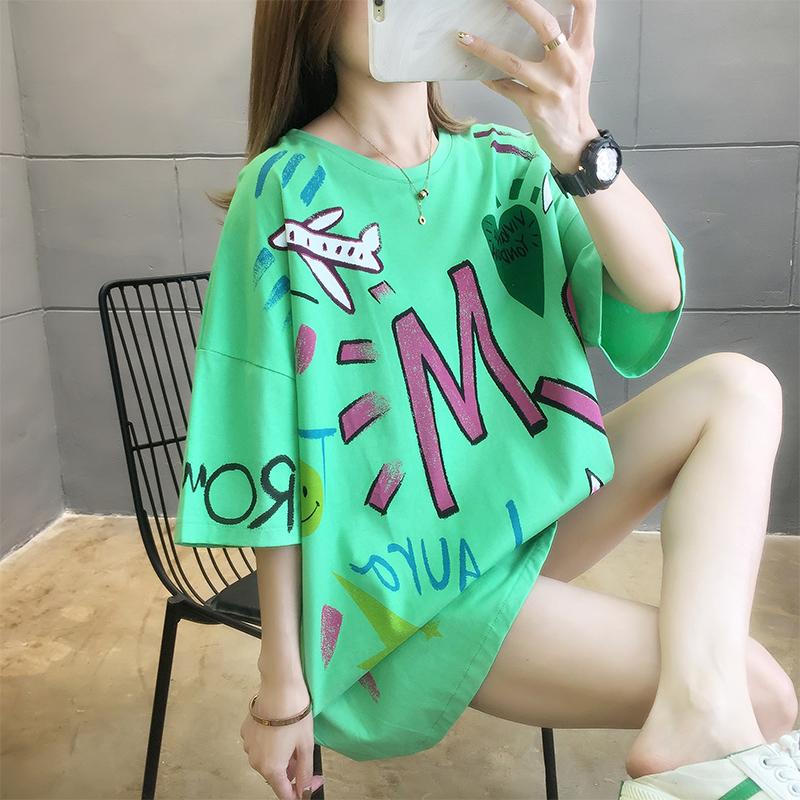 實拍2020大版網紅韓版涂鴉短袖t恤女寬松大碼女裝上衣服