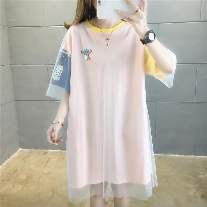 實拍大純棉件網紗短袖T恤女新款印花寬松中長款韓版網紅上衣