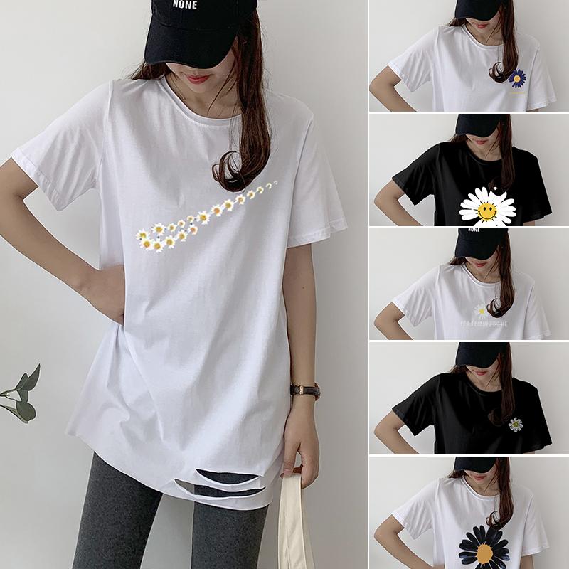純棉現貨現發2020夏裝5102#官圖超火印花小雛菊白色短袖T恤女潮