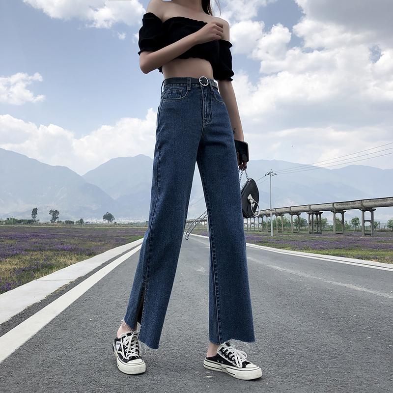 實拍泫雅開叉闊腿牛仔褲2020新款夏季女直筒高腰顯瘦百搭拖地褲