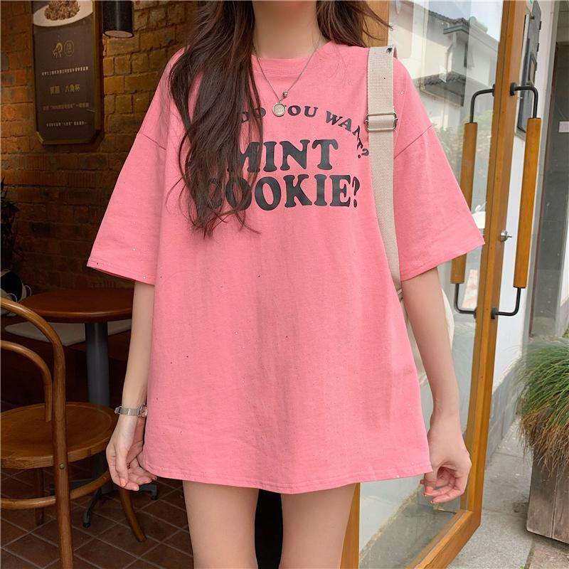 實拍好質量韓版棉質寬松短袖中長t恤女網紅同款大碼女裝