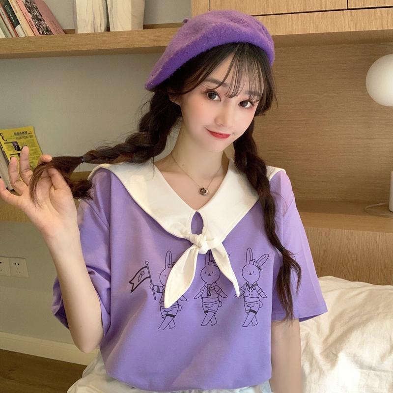 實拍夏日甜美清新少女短袖t恤女日系蝴蝶結海軍領上衣服