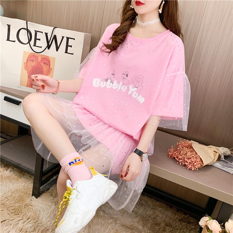 實拍大件網紗短袖T恤女印花寬松中長款韓版網紅上衣連衣裙