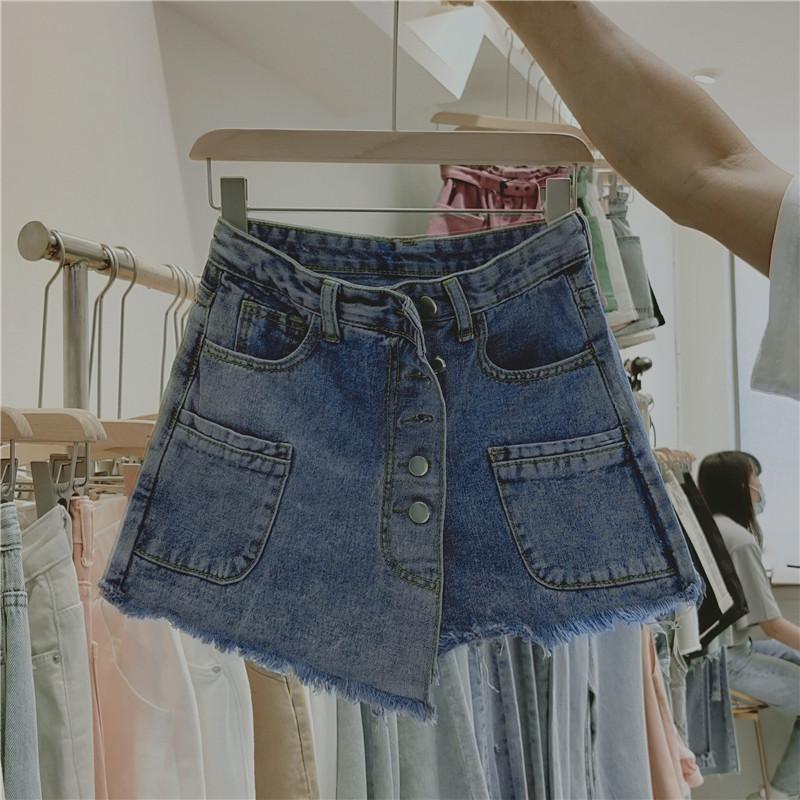 實拍實價夏季2020年新款女裝韓版流行氣質a字牛仔短裙褲裙