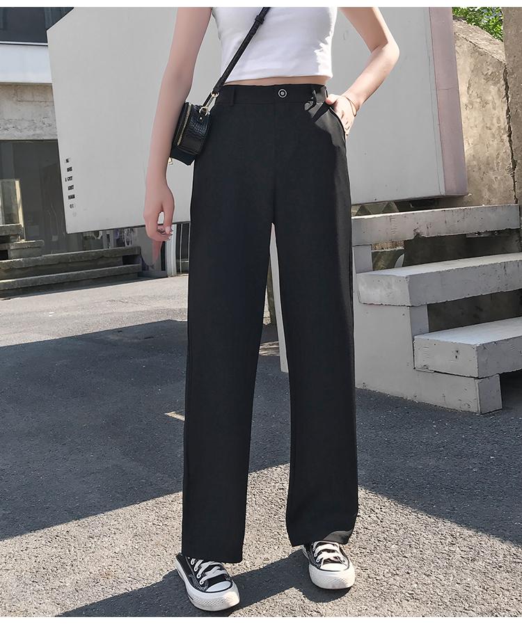 实拍 夏装新款百搭休闲直筒宽松西装拖地阔腿裤女裤垂感黑色